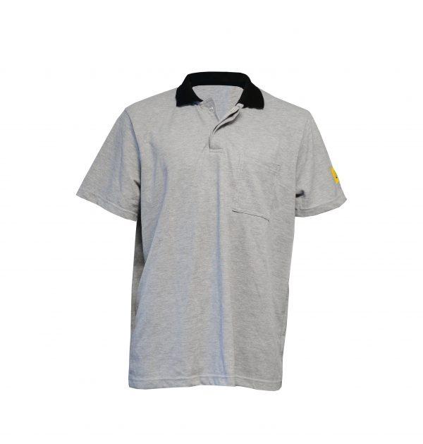 Grey-Antistat-ESD-Short-Sleeve-Polo-Shirt