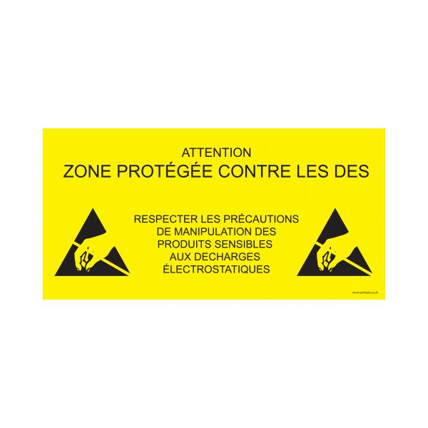 055-0009_ESD Protected Area Sign_600x300_yellow background_FRENC