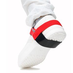 Heel grounder with hook loop strap in red