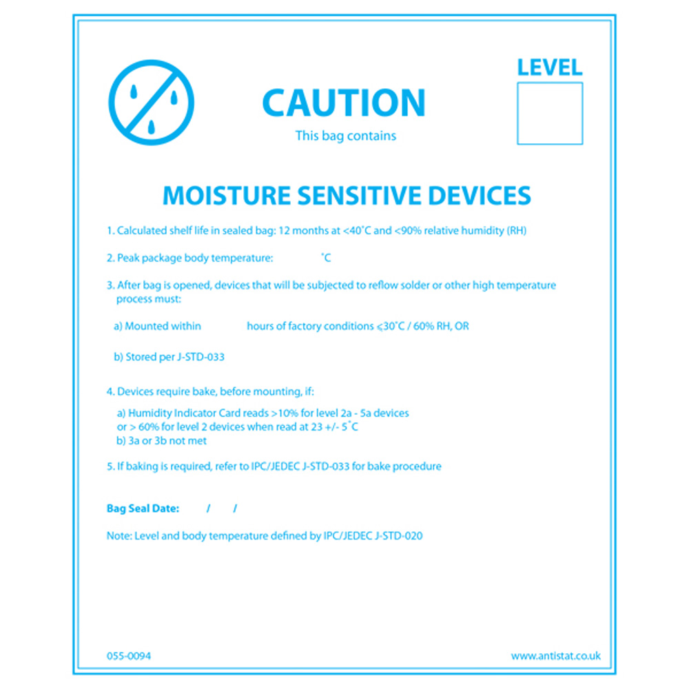 Moisture Sensitive Device Label Blue