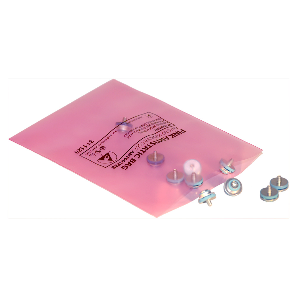 pink antistatic bags open top